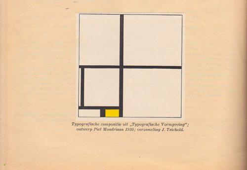 """""""Typografische Compositie"""" van Piet Mondriaan Grafiek, no. 18 (1945)."""