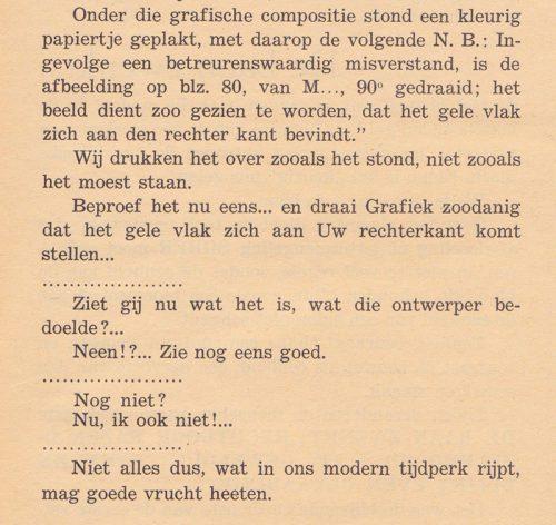 """Tekstfragment uit: Peeters, """"Niet twijfelen! De baan zwenkt, rechtdoor razen is zelfmoord"""" Grafiek, no. 18 (1945)."""