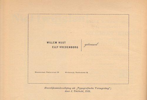 """Bladzijde met reproductie van een huwelijksaankondiging door Jan Tschichold in: Jan Peeters (broeder Zephirijn), """"Niet twijfelen! De baan zwenkt, rechtdoor razen is zelfmoord"""", Grafiek, no. 18 (1945)."""