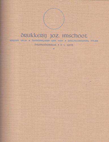 Briefpapier drukk J. Imschoot. Ontwerp Jozef Imschoot.