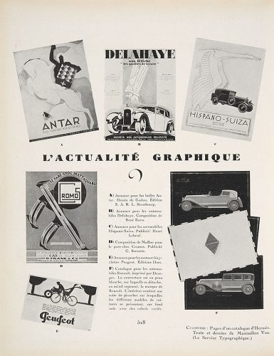 """L'actualité graphique"", putting a great variety of advertisements on display, in AMG 15 (January 1930)."