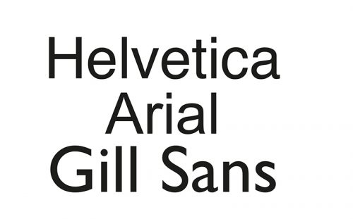 Figure 1. From top to bottom: Helvetica, Arial, Gill Sans.