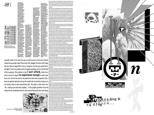 Emigre #11 spread: verso designed by Rudy VanderLans, recto designed by John Weber, 1989.